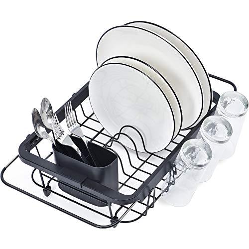 nero X-cosrack Scolapiatti da cucina in acciaio inox con 5 ganci dimensioni del lavello /≤ 85,9 cm